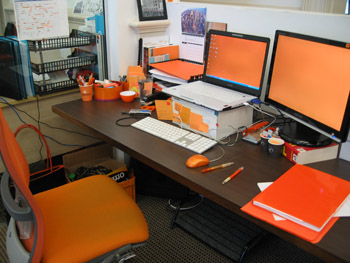 A shot of orange girl's desk